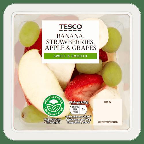 Tesco Banana Strawberries Apple Grapes 230g